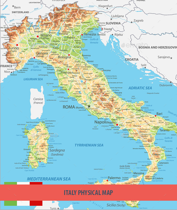 Italy Physical Map by Cartarium GraphicRiver