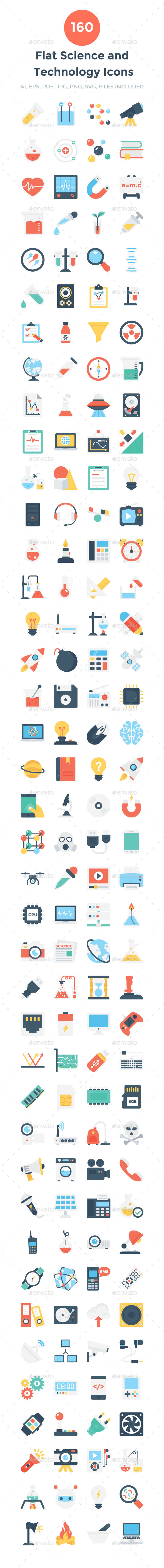 160 Flat Science and Technology Icon - Icons