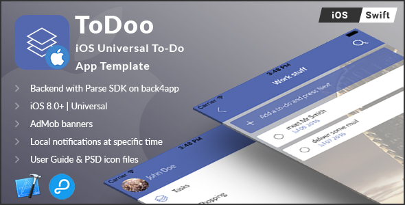 ToDoo | iOS Universal To-Do App Template (Swift) - CodeCanyon Item for Sale
