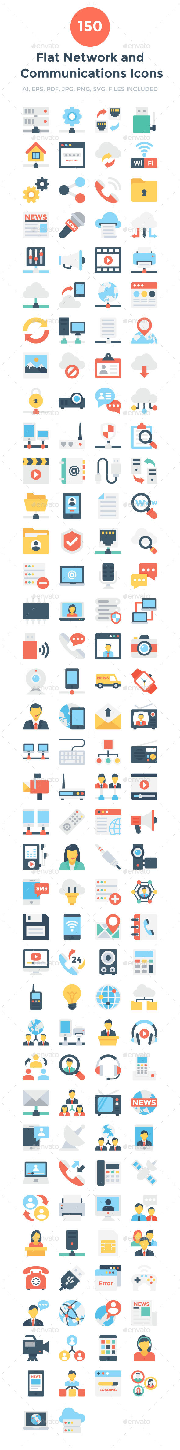 150 Network and Communication Icons - Icons