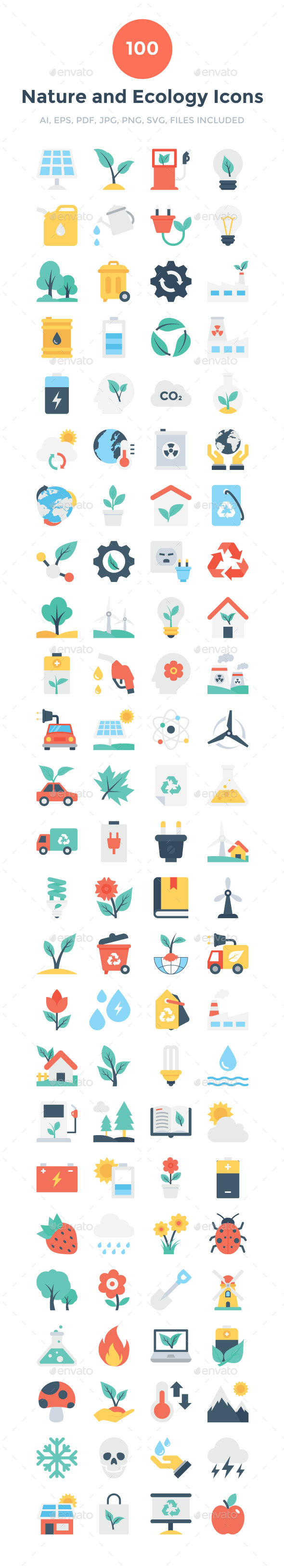 GraphicRiver 100 Flat Nature and Ecology Icons 20694365