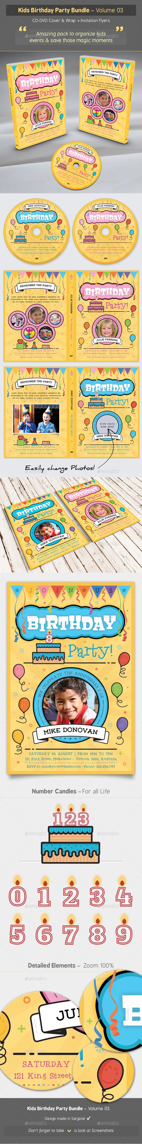 Kids Birthday Party Bundle - Volume 03 - Birthday Greeting Cards