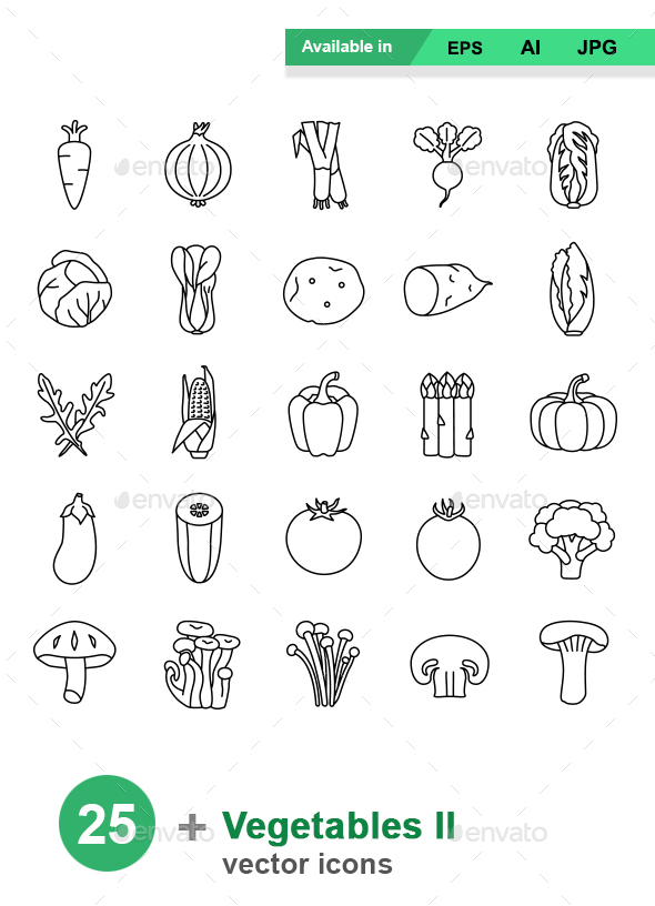 Vegetables II outlines vector icons - Man-made objects Objects