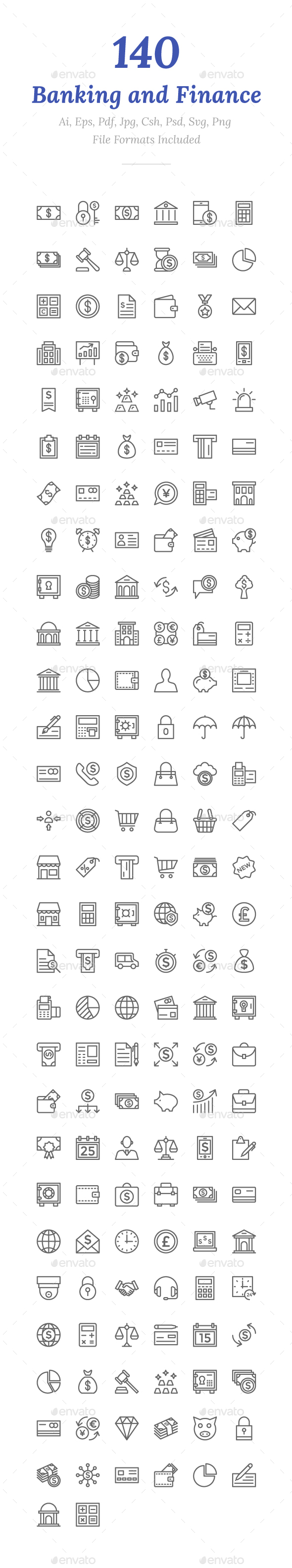 140 Banking and Finance Line Icons - Icons