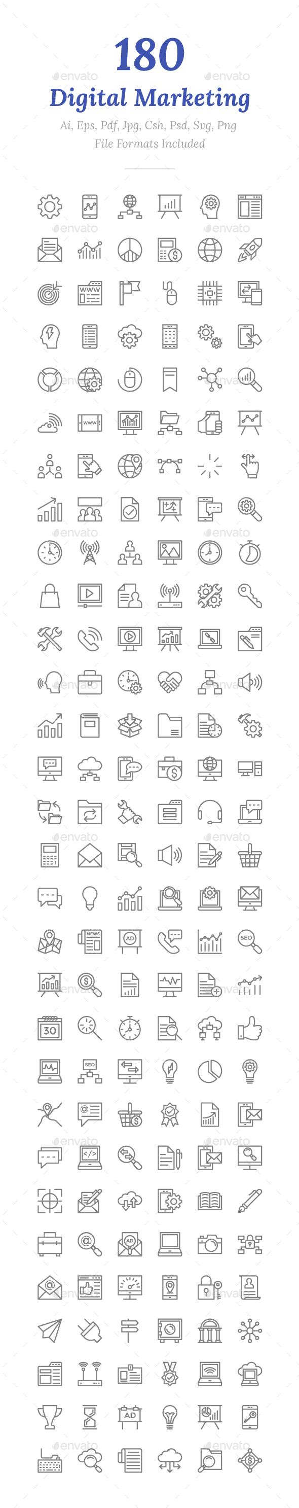 180 Digital Marketing Line Icons - Icons