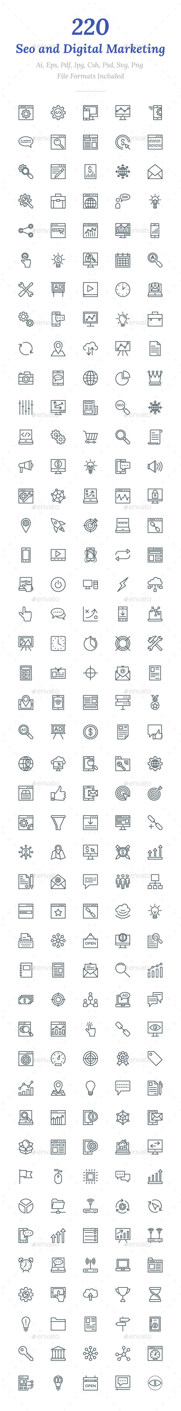 220 SEO and Digital Marketing Icons - Icons