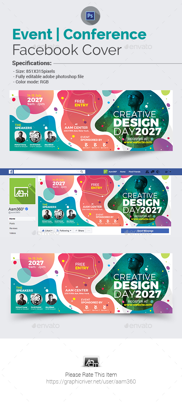 Event | Conference Facebook Cover Template - Facebook Timeline Covers Social Media