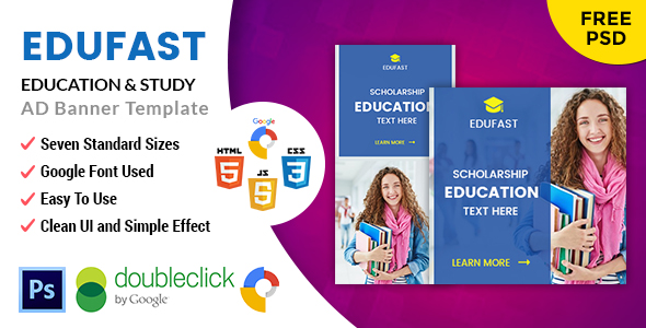 CodeCanyon Edufast Education HTML5 Google Banner Ad 20695100