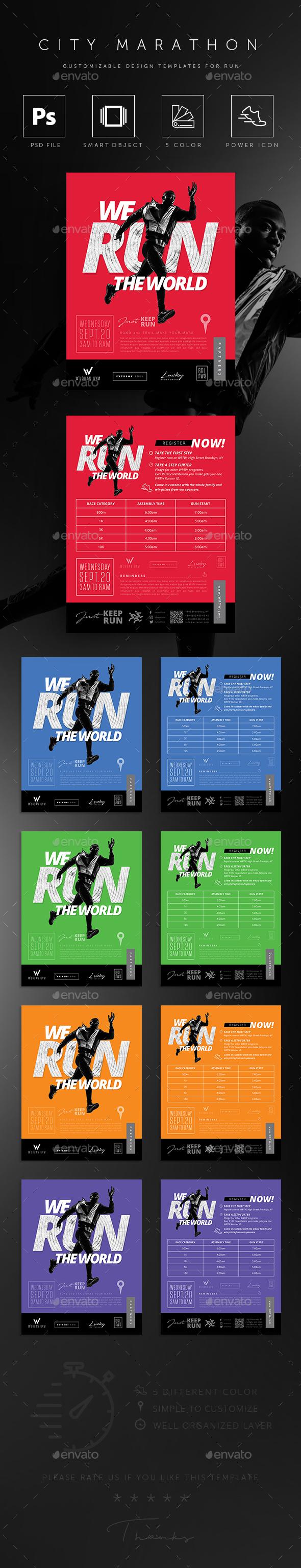 Run Marathon Event Poster / Flyer - Sports Events