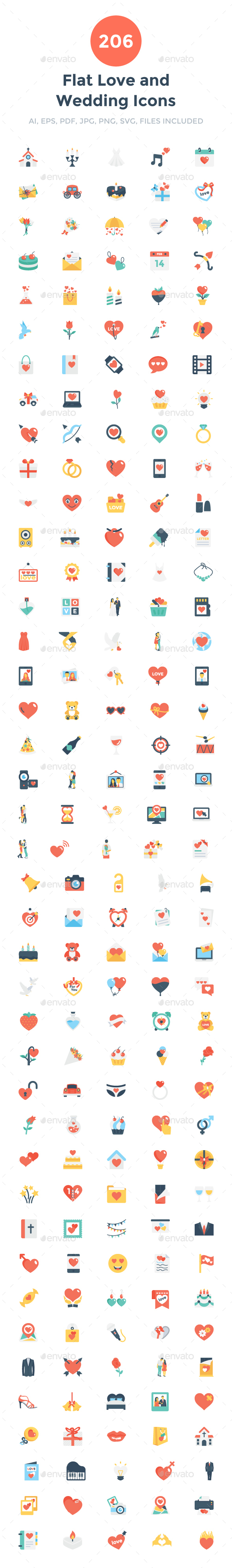 206 Flat Love and Wedding Icons - Icons