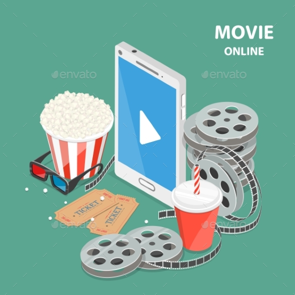 Online Movie Flat Isometric Low Poly Vector Concept - Computers Technology