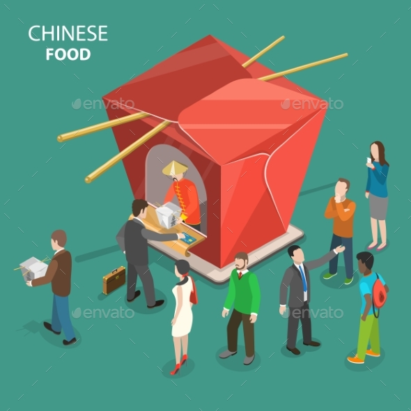 Chinese Food Flat Isometric Low Poly Vector Concept - Food Objects
