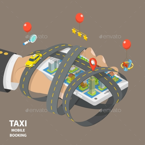 Mobile Taxi Booking Flat Isometric Low Poly Vector - Miscellaneous Vectors