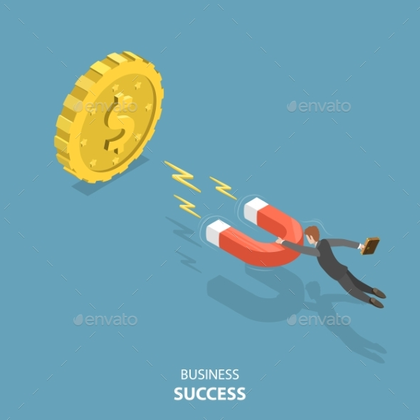 Business Success Flat Isometric Low Poly Vector Concept - Concepts Business