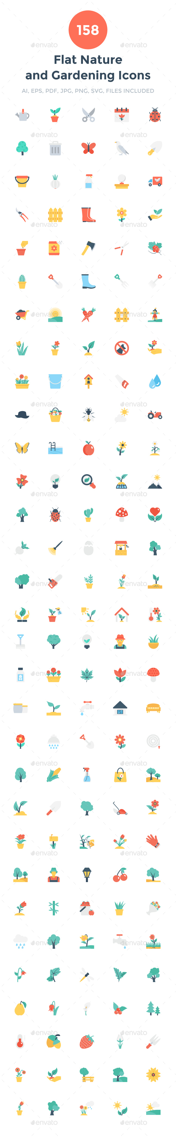 158 Flat Nature and Gardening Icons - Icons
