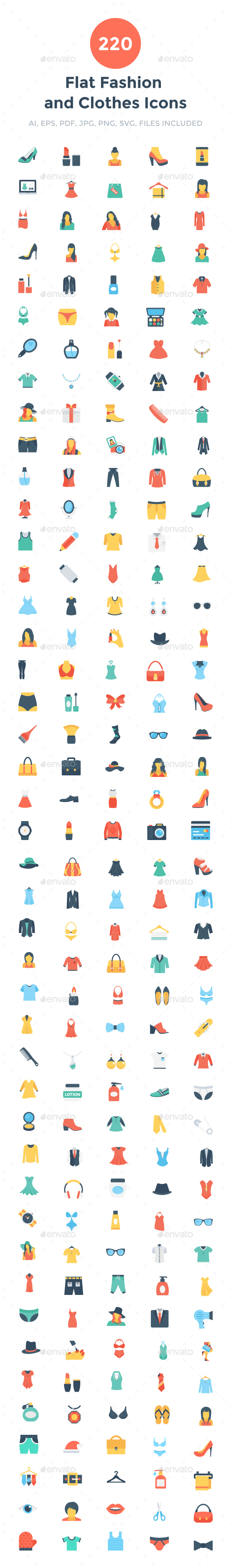 220 Flat Fashion and Clothes Icons - Icons