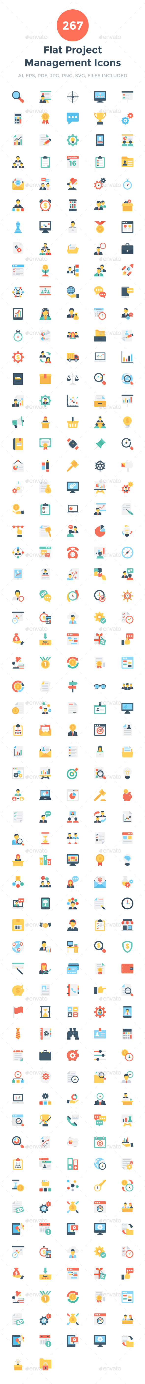 267 Flat Project Management Icons - Icons