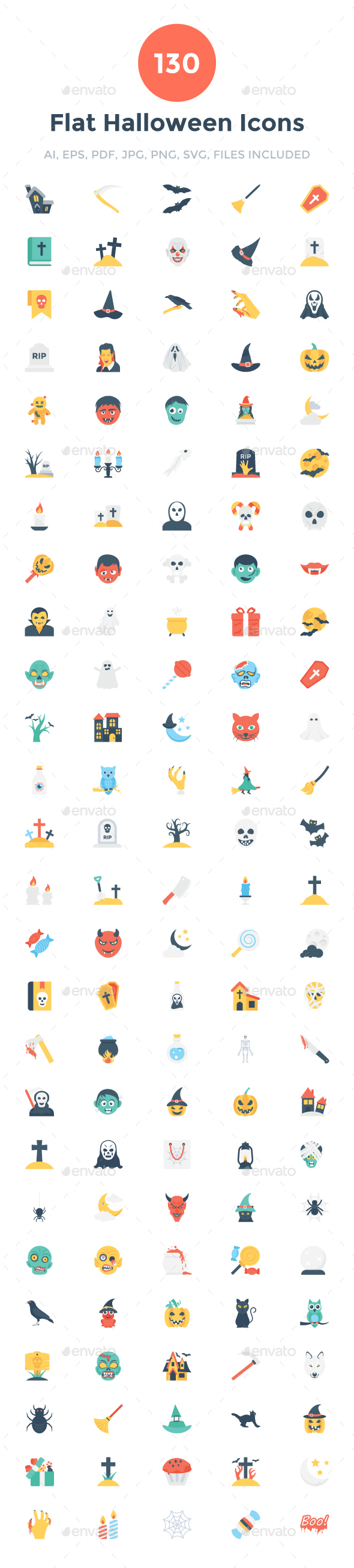 130 Flat Halloween Icons - Icons