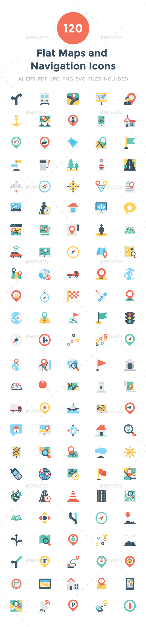 GraphicRiver 120 Flat Maps and Navigation Icons 20695878
