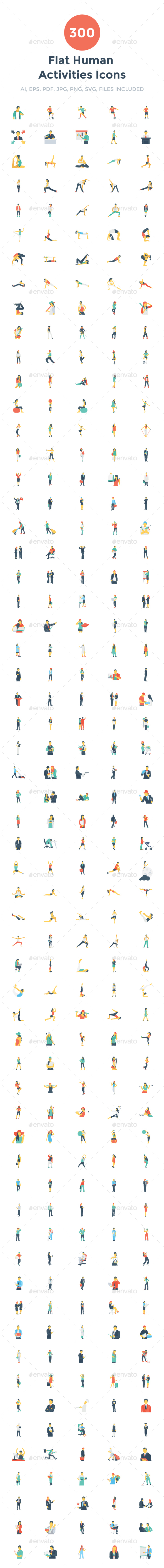 300 Flat Human Activities Icons - Icons