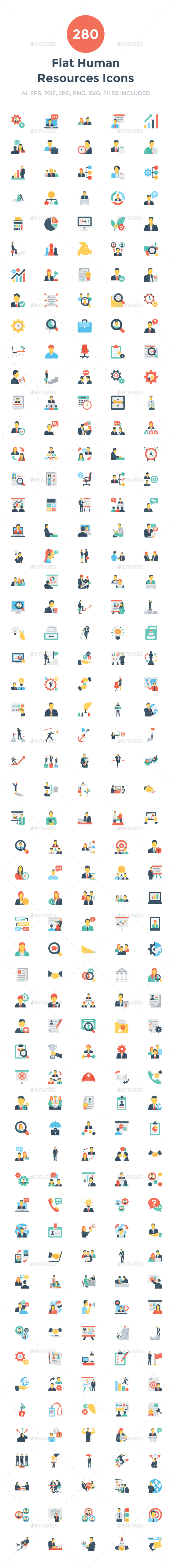 GraphicRiver 280 Flat Human Resouces Icons 20695911