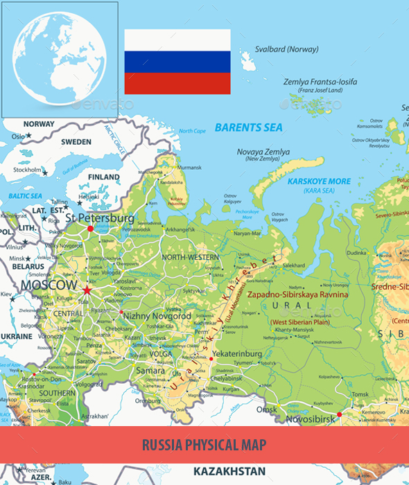 Russia Physical Map By Cartarium GraphicRiver - Physical map of russia