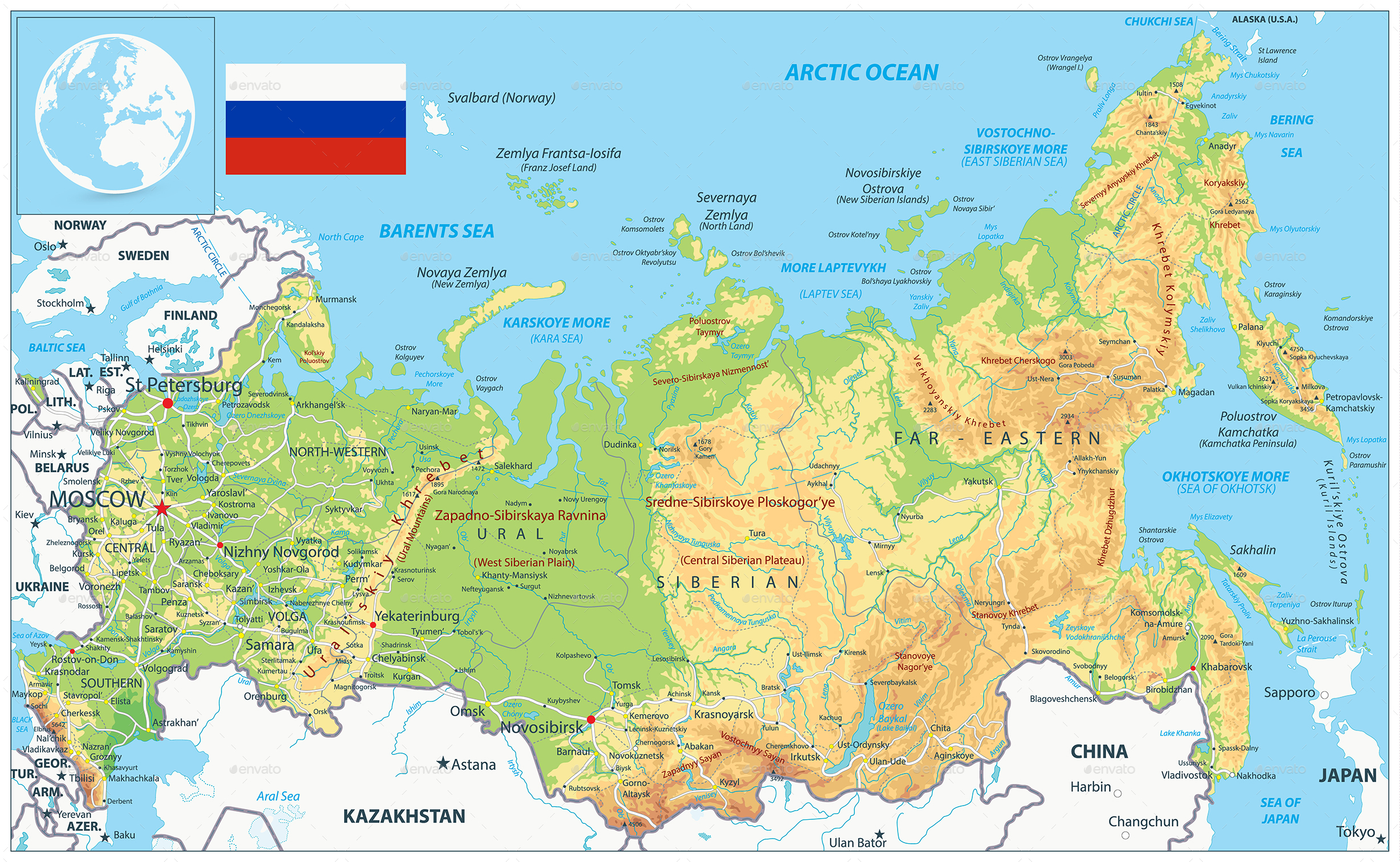 Arctic Circle Russia Map.Russia Physical Map By Cartarium Graphicriver