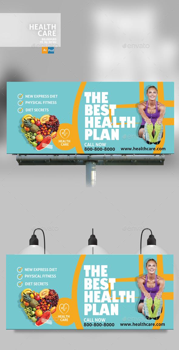 Healthy Life Billboard - Signage Print Templates