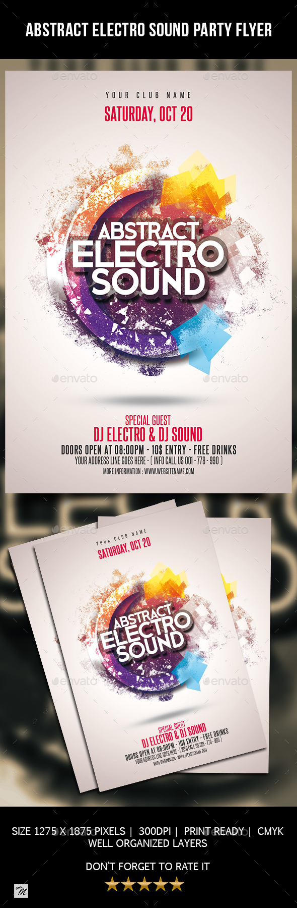 GraphicRiver Abstract Electro Sound Party Flyer 20696201