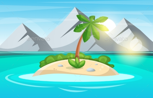 Island Cartoon. Sea and Sun. - Landscapes Nature