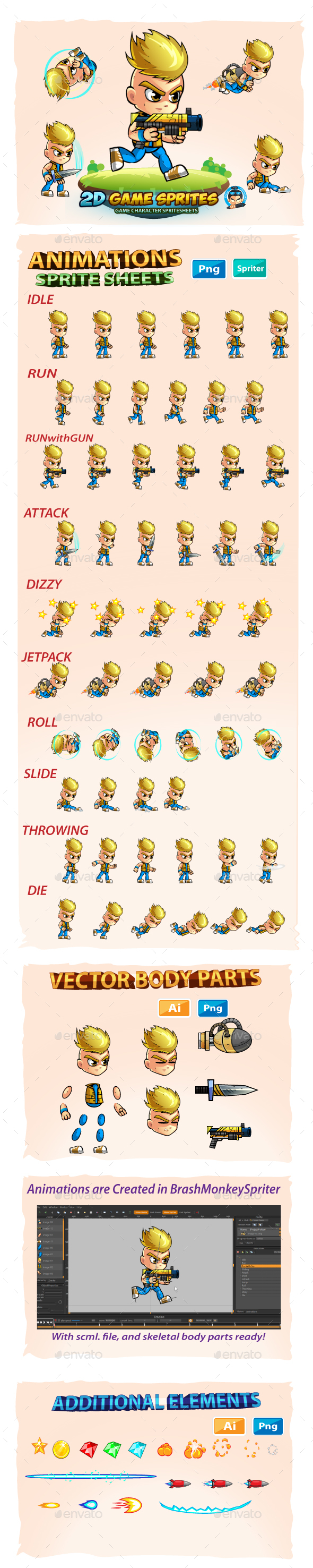 GraphicRiver 2D- Game Character Sprites 20696314