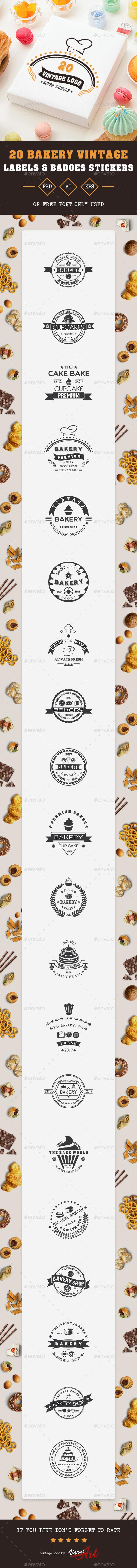 GraphicRiver 20 Bakery Vintage Labels 20685387