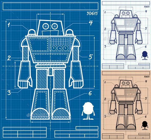 Robot Blueprint Cartoon - Computers Technology