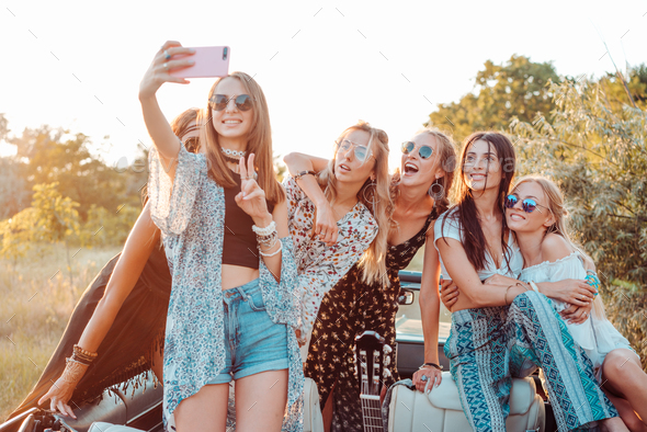 Six beautiful girls make selfie - Stock Photo - Images