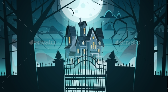 Gothic Castle Behind Gates In Moonlight Scary - Buildings Objects