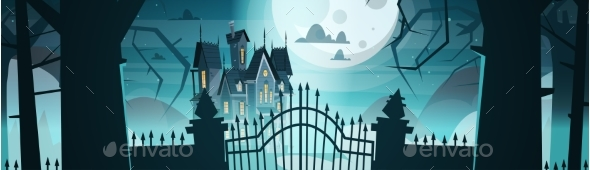 Gothic Castle Behind Gates in Moonlight - Buildings Objects