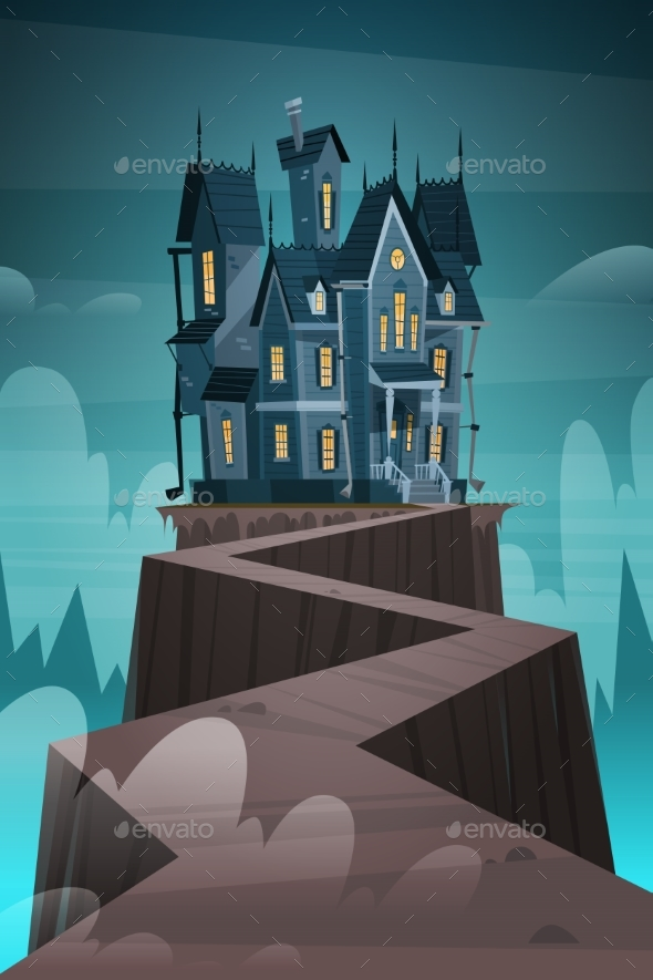 Gothic Castle House in Moonlight - Buildings Objects