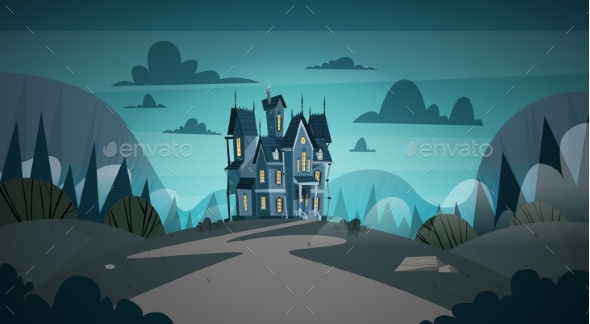 GraphicRiver Gothic Castle House in Moonlight 20696731