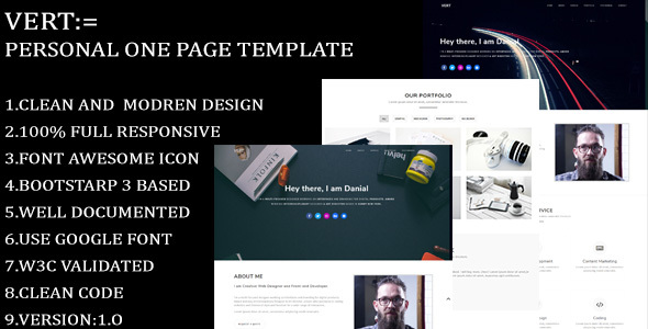 Image of Vert- Personal One page Template