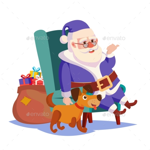 Santa Claus Sitting on Chair Vector - Christmas Seasons/Holidays
