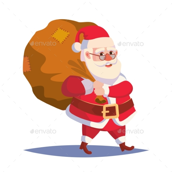 Santa Claus Carrying Sack With Gifts - Christmas Seasons/Holidays