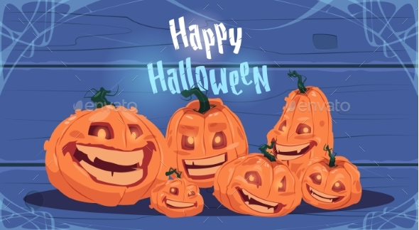 Happy Halloween Party Banner Different Pumpkins - Halloween Seasons/Holidays