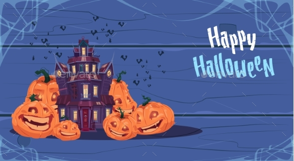 Happy Halloween Gothic Castle with Ghosts - Buildings Objects