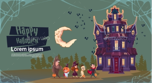 GraphicRiver Happy Halloween Monsters Walking to Gothic Castle 20696850