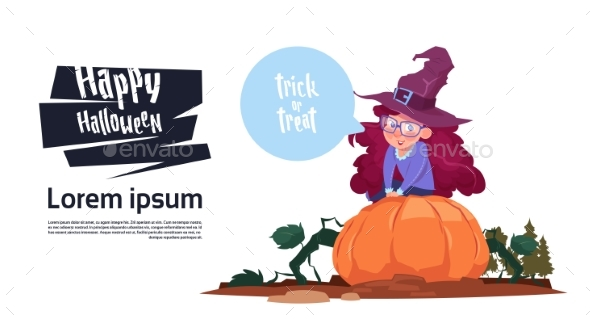 Kid Wear Witch Costume Sit On Pumpkin, Happy - Backgrounds Decorative