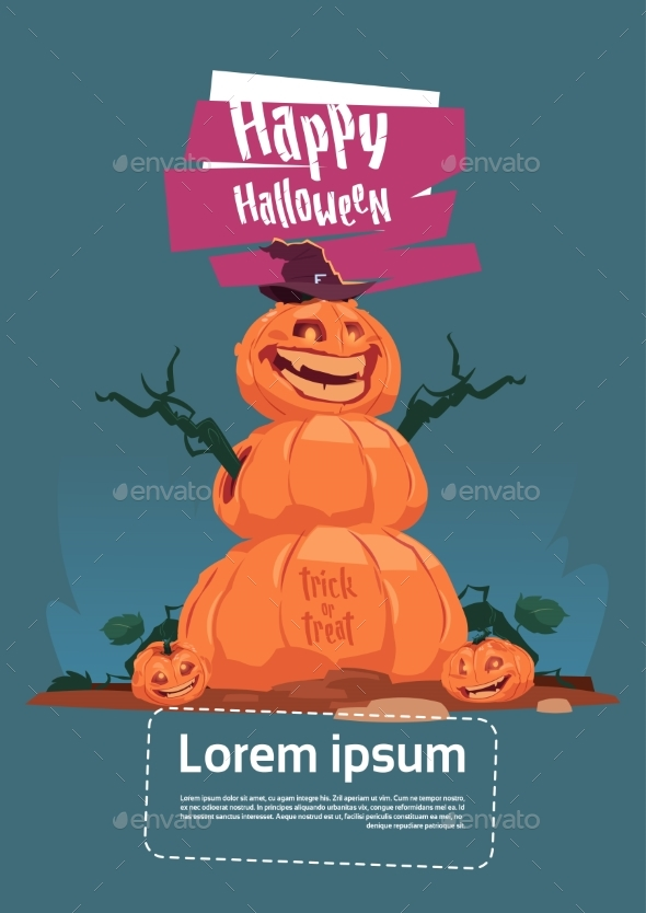 Scarecrow Jack O' Lantern Happy Halloween Banner - Halloween Seasons/Holidays