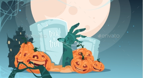 Halloween Party Banner of Pumpkins in Cemetery - Halloween Seasons/Holidays