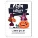 Kids Wear Witch Costume Sit On Pumpkin, Happy