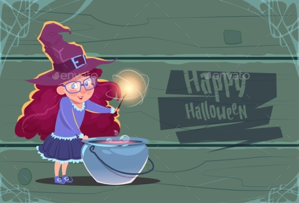 Witch Making Potion In Pot, Happy Halloween - Backgrounds Decorative
