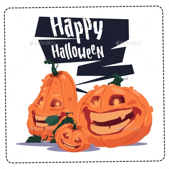 Happy Halloween Party Banner Pumpkins Traditional - Halloween Seasons/Holidays